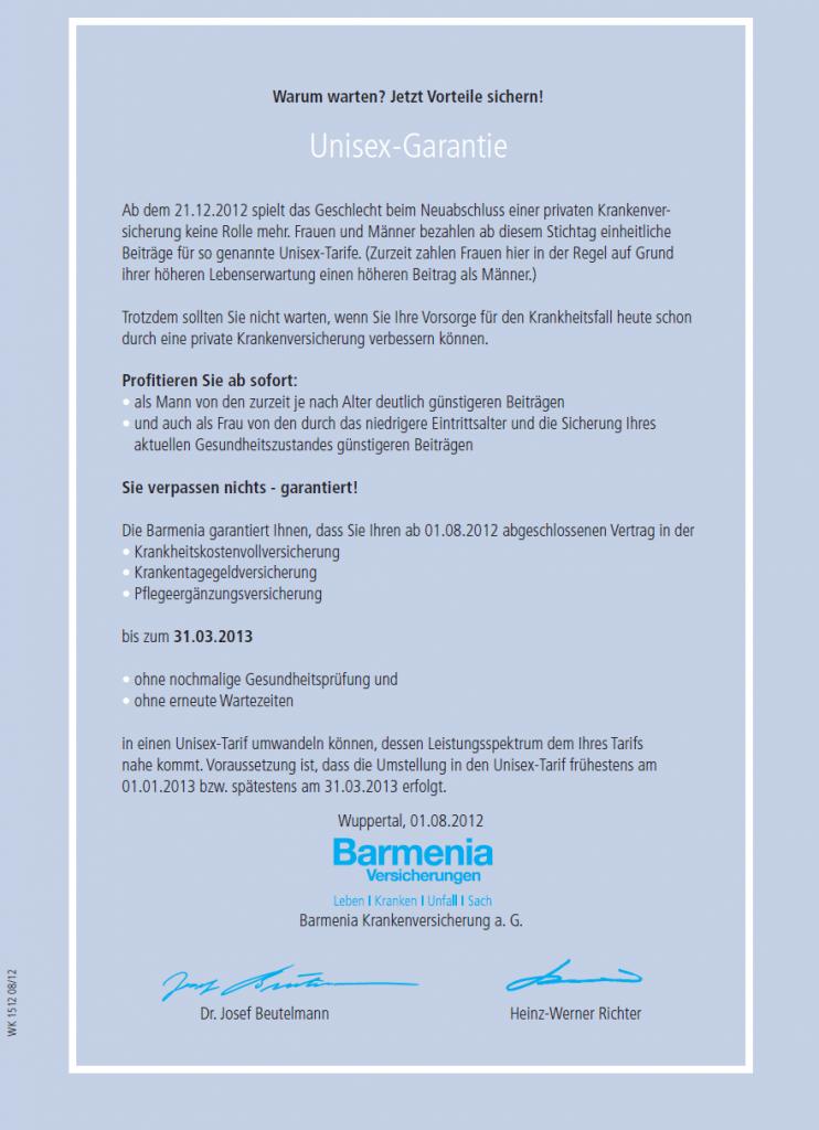 Unisex-Garantie Barmenia Krankenversicherung a.G.