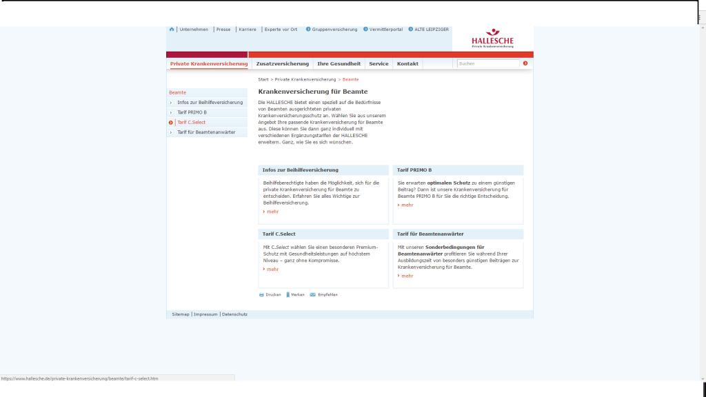 Screenshot Website der HALLESCHE Krankenversicherung a.G. vom 13.10.2016